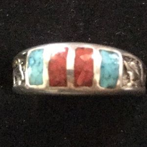 Vintage Navajo Turquoise /R Coral Sterling Silver